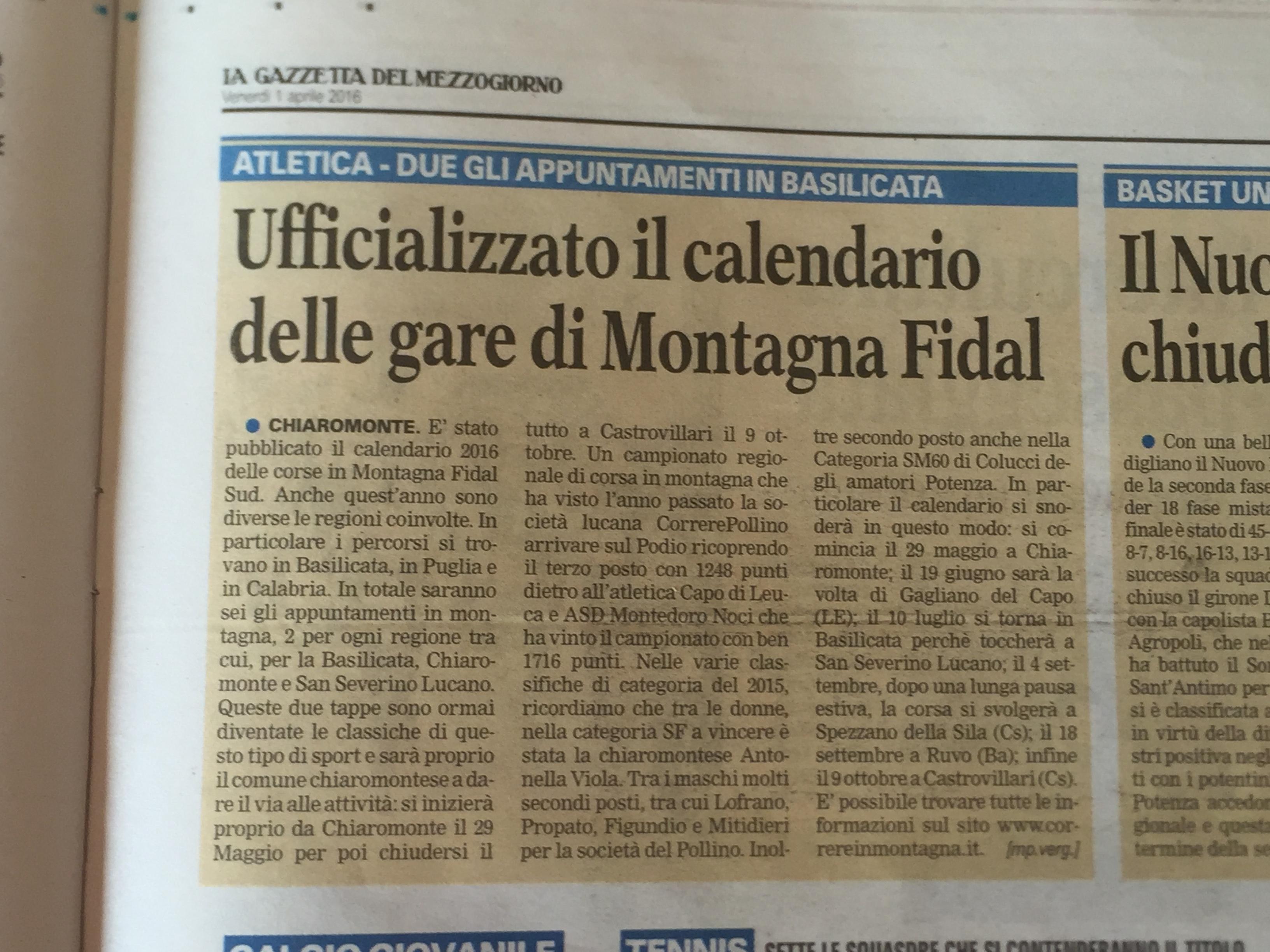 Calendario Fidal Calabria.Correrepollino Corsa In Montagna Fidal Sud Basilicata
